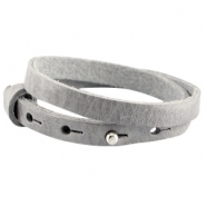 Cuoio armband dubbel natural grey