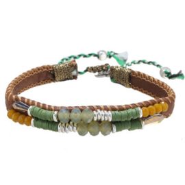 Armband leather beads groen