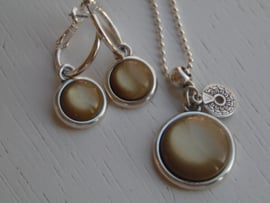 Oorbellen + ketting shinny gold brown