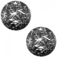 Slider zilver met cabochon feltro matt nero zwart