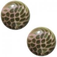 Slider zilver met cabochon leopard pink