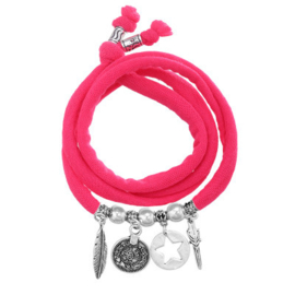 Wrap armband ster  roze