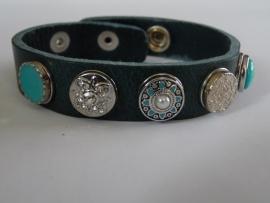 leren armband 5 minidrukkers zilver/turquoise