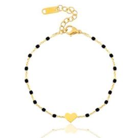 Rvs armbandje hart goud/zwart