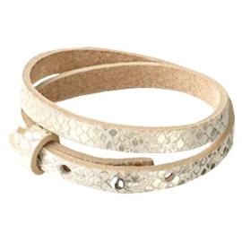 Cuoio armband dubbel snake metallic white grey
