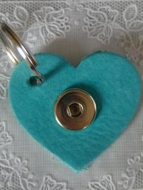 Sleutel/tas hanger hart turquoise donker nubuck         th103