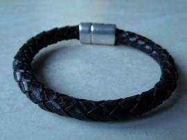 Leer rond gevlochten armband vintage zwart