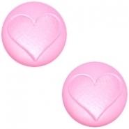 Slider zilver met cabochon hart matt pastel roze pink