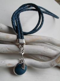 Leren ketting vintage blue
