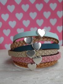 Leren armband hart