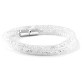 Armband dubbel met kristal facet white