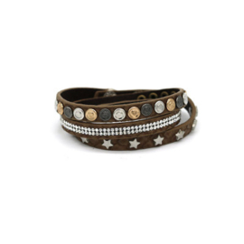 armband star wrap donker bruin