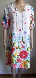 Tuniek/ jurkje wit met bloemen
