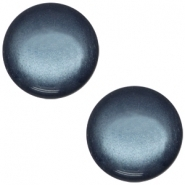 Slider zilver met cabochon soft tone shiny denim blue