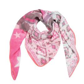 Sjaal print parade roze