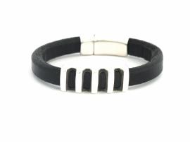Heren armband van Regaliz leer zwart met boogkraal open