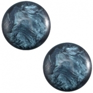 Slider zilver met cabochon jais denim blue