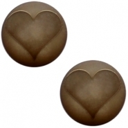 Slider zilver met cabochon hart matt smokey quart brown