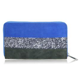 Portemonnee glitter lines blauw/zilver