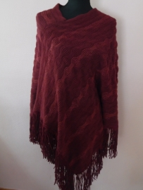 Poncho bordeaux rood glitter