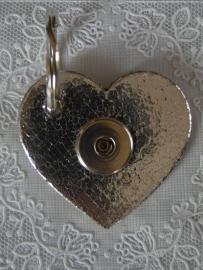 Sleutel/tashanger hart zilver metalic                 th035