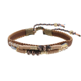 Armband leather beads beige