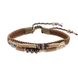 Armband leather beads beige