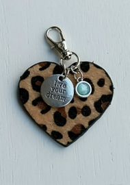 Sleutel/tas hanger live your dream turquoise