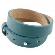Cuoio armband dubbel deep blue zircon