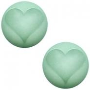 Slider zilver met cabochon hart matt crysolite green