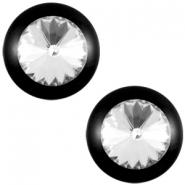 Slider zilver met cabochon shiny rivoli swarovski XXL nero zwart crystal