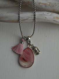 Lange ketting light rose jade