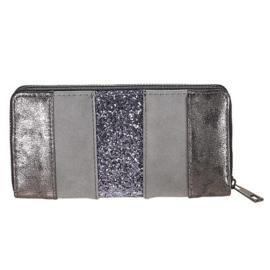 Portemonnee glitter stripes grijs