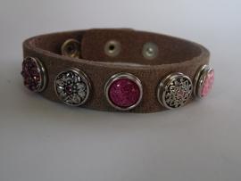leren armband 5 minidrukkers zilver/fuchsia/roze