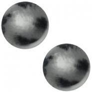 Slider zilver met cabochon zebu matt grijs zwart