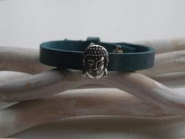 Cuoio armband bleu met schuiver