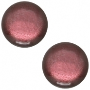 Slider zilver met cabochon soft tone shiny aubergine red