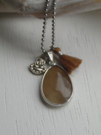 Lange ketting brown jade
