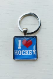 Sleutelhanger I love hockey blauw