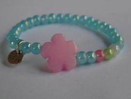 armbandje Summer turquoise bloem