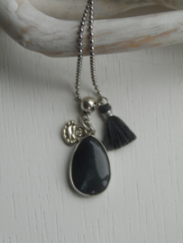Lange ketting black agaat
