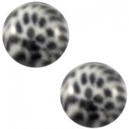 Slider zilver met cabochon leopard silver shade