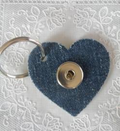 Sleutel/tas hanger hart denim                        th028