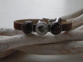 Cuoio armband kroko bruin