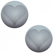 Slider zilver met cabochon hart black diamond