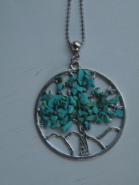 Lange ketting tree of life  turquoise
