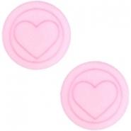 Slider zilver met cabochon polaris hart plat pastel pink