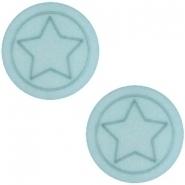 Slider zilver met cabochon polaris ster plat haze blue