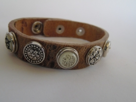 leren armband 5 minidrukkers zilver/off white