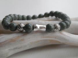Armband half edelsteen armband greenisch grey